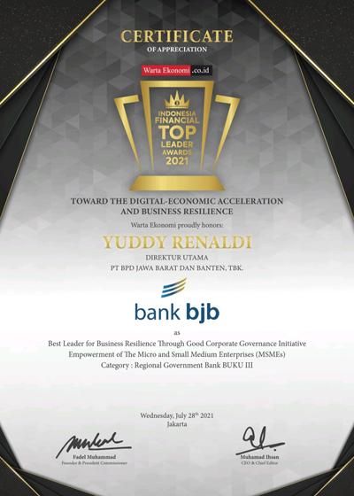 bank bjb Raih Penghargaan Prestisius di Ajang Indonesia Financial Top Leader Award 2021 1